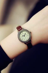 VIKEC Rome Dial Thin Leather Strap Watches