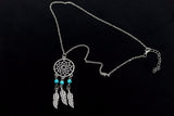 Long Silver Dream Catcher Feather Pendant Necklace Online Shopping Store