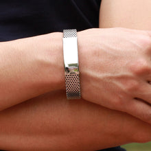 Load image into Gallery viewer, Stainless Steel with Black Leather Bracelet