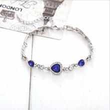 Load image into Gallery viewer, Blue Stone Crystal Heart Charm Bracelets