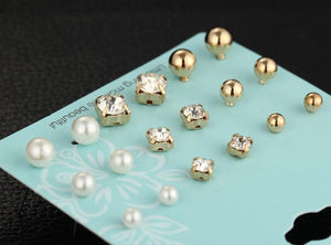 9 Pairs/set Crystal Simulated Pearl Stud Earrings Online Shopping Store