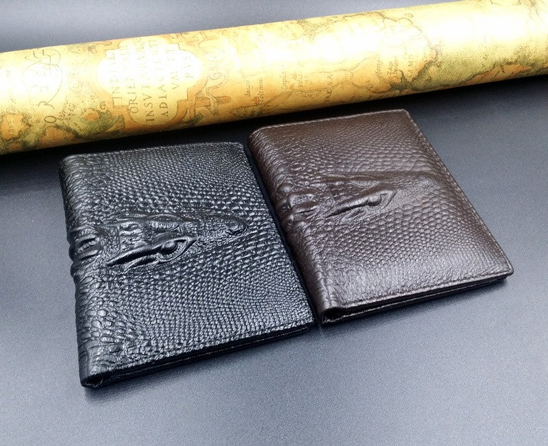 Short Crocodile Design Real Cowhide Genuine Leather Wallet Online Shopping Store