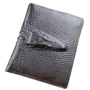 Short Crocodile Design Real Cowhide Genuine Leather Wallet