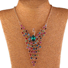 Load image into Gallery viewer, Rhinestone Peacock Necklace