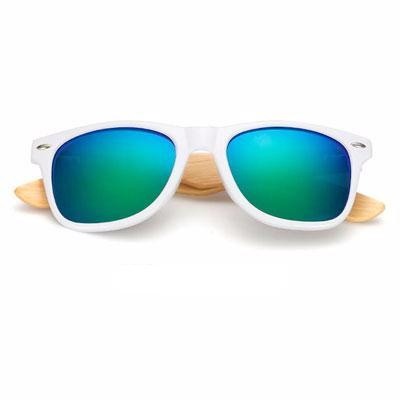 Ralferty Wooden Frame White Green Mercury Sunglasses