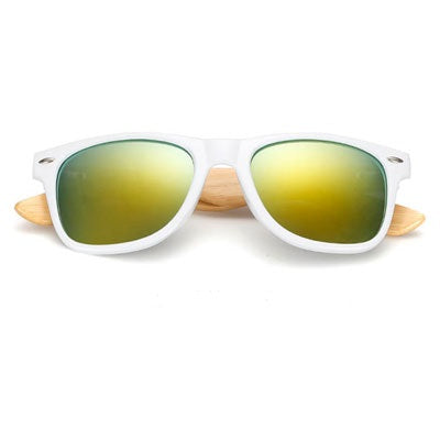 Ralferty Wooden Frame White Gold Mercury Sunglasses