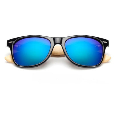 Ralferty Wooden Frame Black Green Mercury Sunglasses