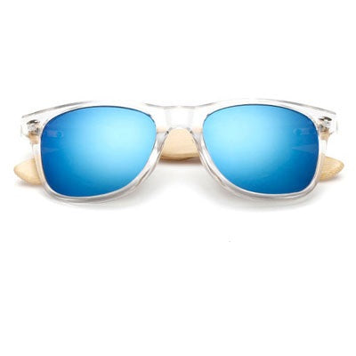 Ralferty Wooden Frame Transparent Blue Sunglasses