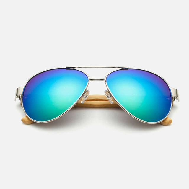 Ralferty Pilot Bamboo Wood Green Mercury Sunglasses