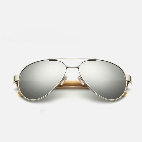 Ralferty Pilot Bamboo Wood White Mercury Sunglasses