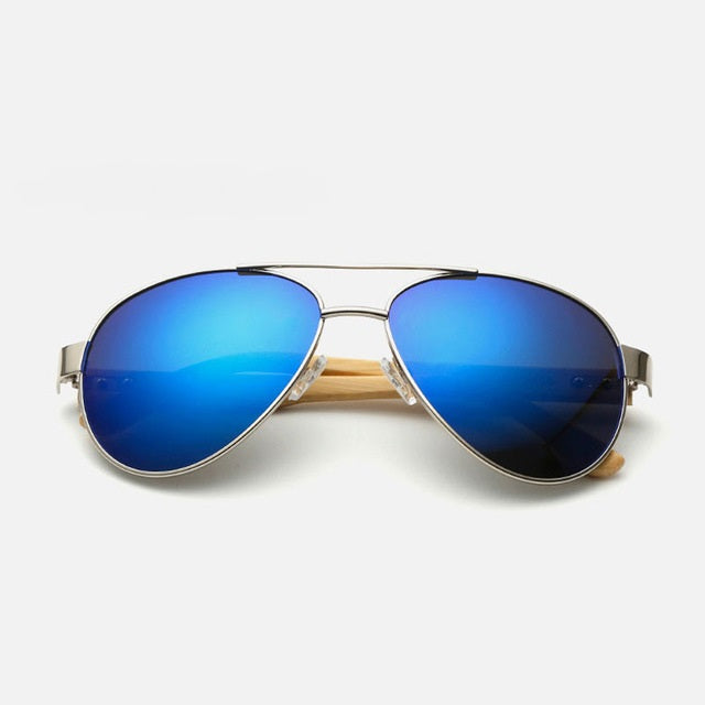 Ralferty Pilot Bamboo Wood Blue Mercury Sunglasses