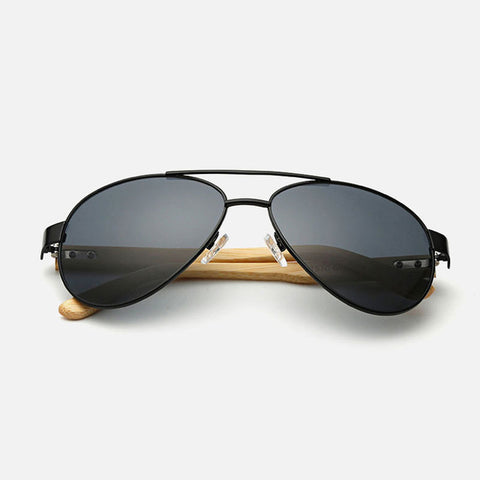 Ralferty Pilot Bamboo Wood Black Sunglasses