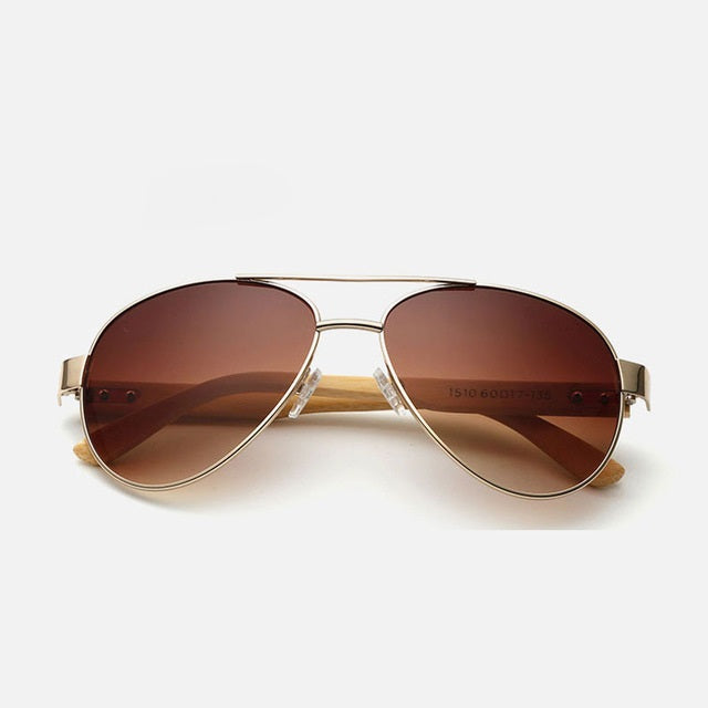 Ralferty Pilot Bamboo Wood Coffee Sunglasses