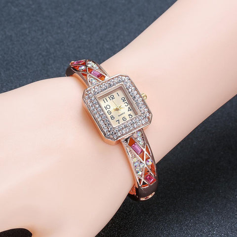 Beautiful Rose Gold Plated Square Case Thin Bangle Ladies Watch