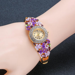 18k Gold Plated Women Flower Bracelet Watch - Stainless Steel Gold Bangle Online Store UAE