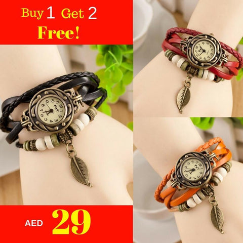 Buy 1 Get 2 Free Women Fashion Leather Bracelet Watches