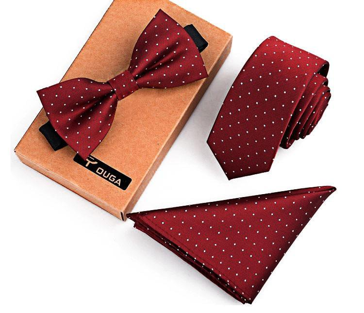 3 PCS Men Bow Tie and Handkerchief Set Red