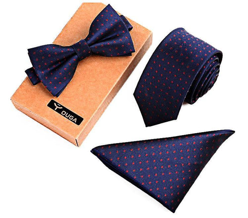3 PCS Men Bow Tie and Handkerchief Set Blue Online Shopping Store