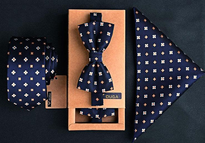 3 PCS Men Bow Tie and Handkerchief Set Dark Blue