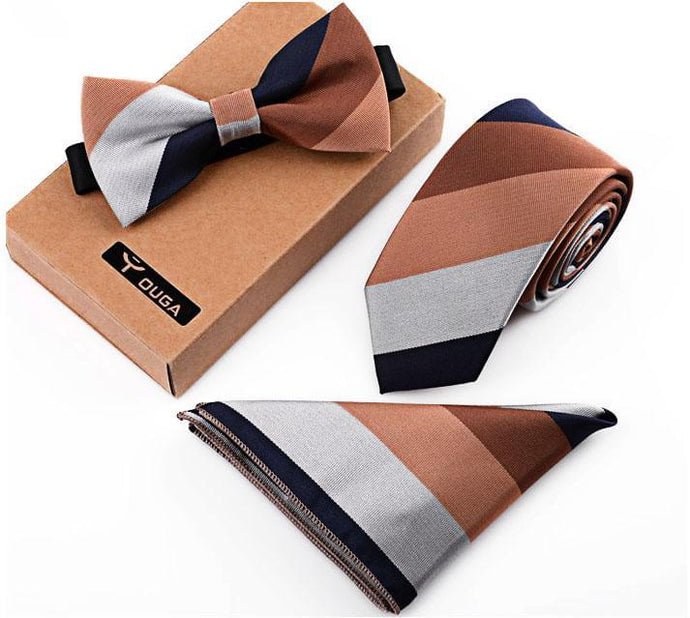 3 PCS Men Bow Tie and Handkerchief Set Brown