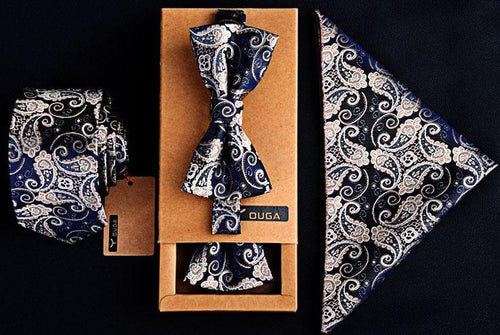 3 PCS Men Bow Tie and Handkerchief Set Silver Blue Online Shopping Store