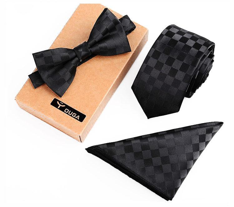 3 PCS Men Bow Tie and Handkerchief Set Black