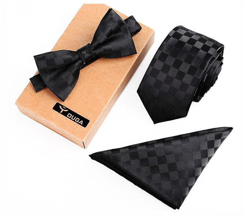 3 PCS Men Bow Tie and Handkerchief Set Black Online Store UAE