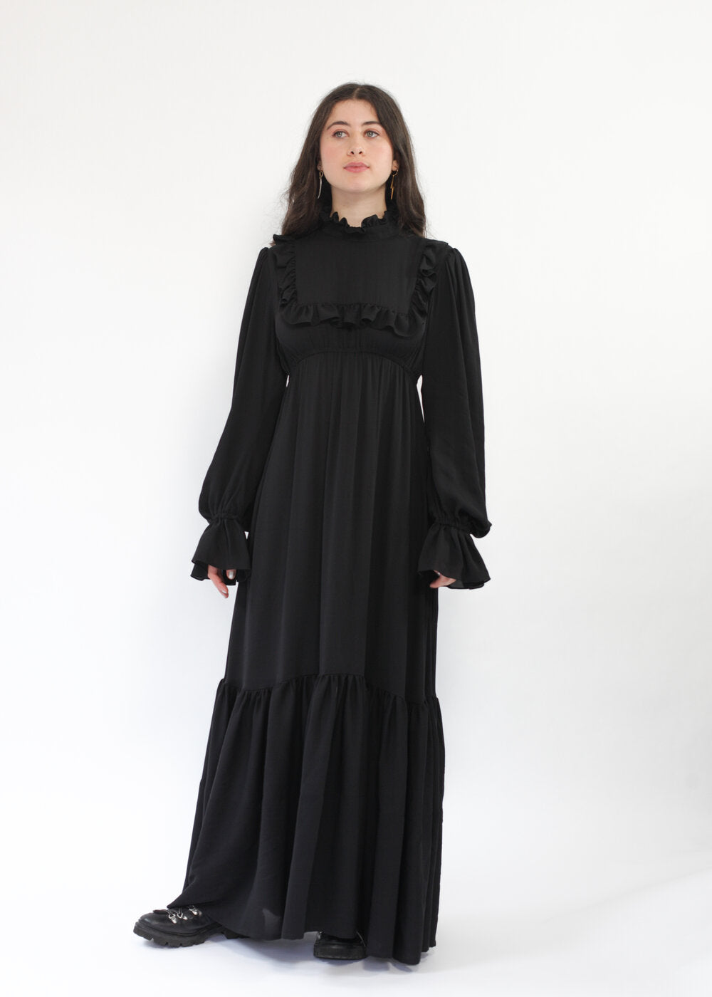 Prairie Dress in black silk