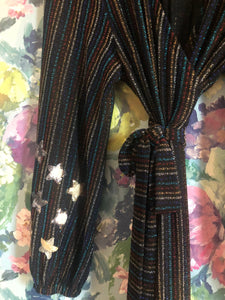 Lurex multi coloured striped babooska maxi wrap dress with sequinned star details.