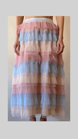 Froo Froo rainbow tulle skirt with ana elasticated waist