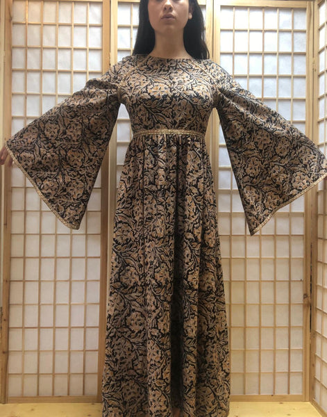 PARIS maxi dress made from vintage block print dead stock