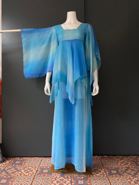 The London Mob blue tie dye angel wing maxi dress early 1970s
