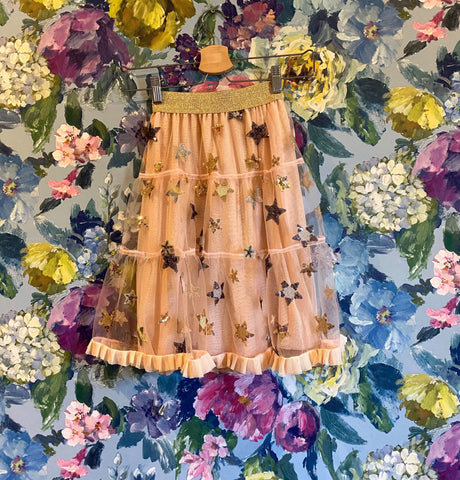 Kids Suki tulle skirt in pink with stars