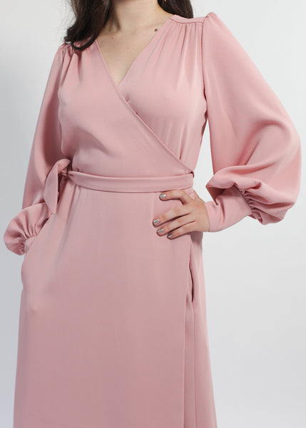 Ossie Clark rose blush maxi wrap dress copy but with added pockets