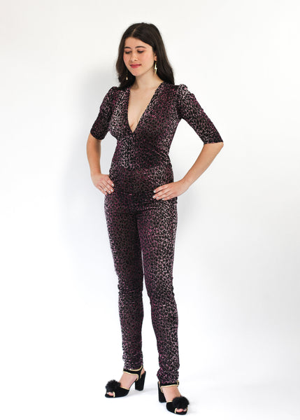 Leopardprint Devore Ziggy Jumpsuit