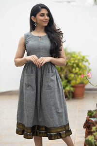 Meghna Grey Mangalagiri Dress