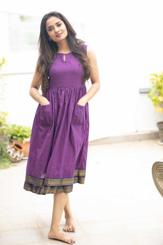Meghna Purple Mangalagiri Dress