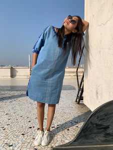 Blue Ikat Denim Twin Dress
