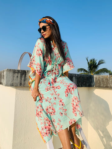 Blue Tropical Kaftan