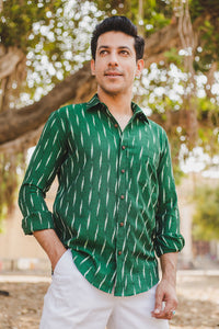 Green Tiny Woven Ikat Shirt