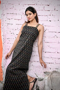 Black Ikat Slip Dress