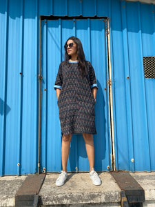 Black Denim Ikat Twin Dress
