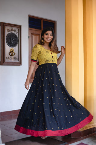 Caruvi Yellow Kalamkari dress