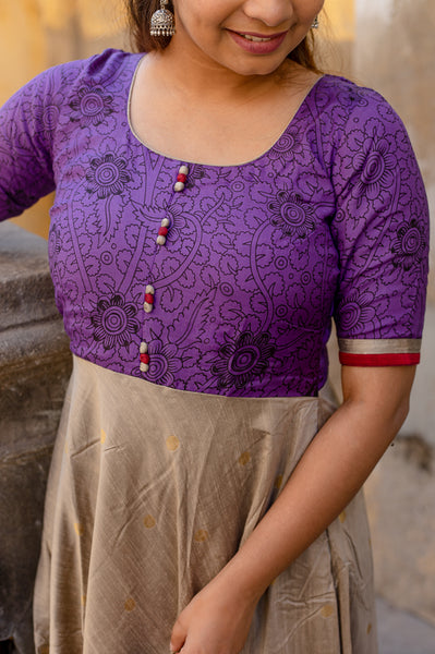 Caruvi Violet Kalamkari dress