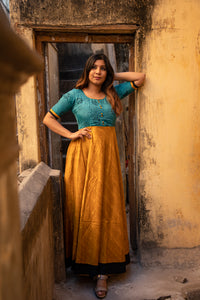 Caruvi Cyan Kalamkari dress