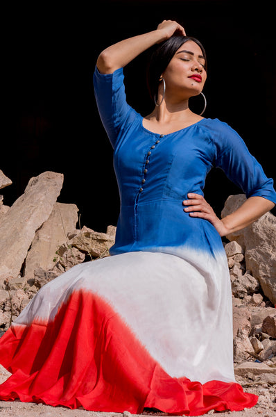 Blue and Red Fit and Flare Dress