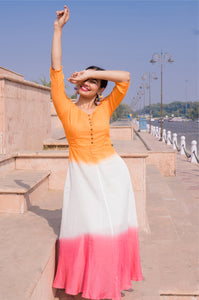 Orange and Pink Fit and Flare Dress