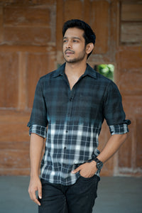 BLACK CHECKS OMBRE SHIRT