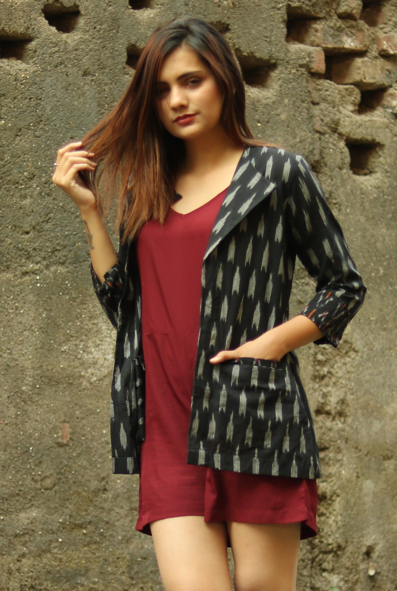 Black Ikat Blazer Jacket