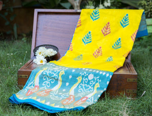 Yellow & Blue Pochampally Saree